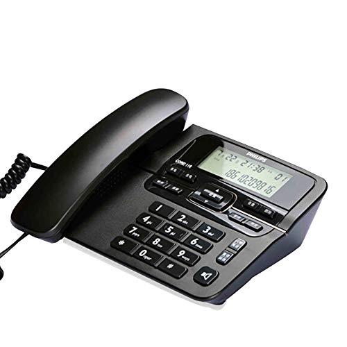 teléfono Fijo_Se Puede conectar a una extensión, con Cable, identificador de Llamadas, teléfono residencial con Manos Libres, teléfono Fijo de Oficina (Negro/Gris)