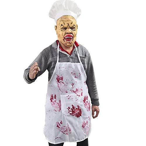 Beängstigend Frauen Kostüm Teufel - VLERHH Masque Halloween, Latex Maske Gruselige Blutige Verrückte Chef 3D-Neuheit Beängstigend Teufel Kostüm Party Cosplay Requisiten Rollenspiel Spielzeug
