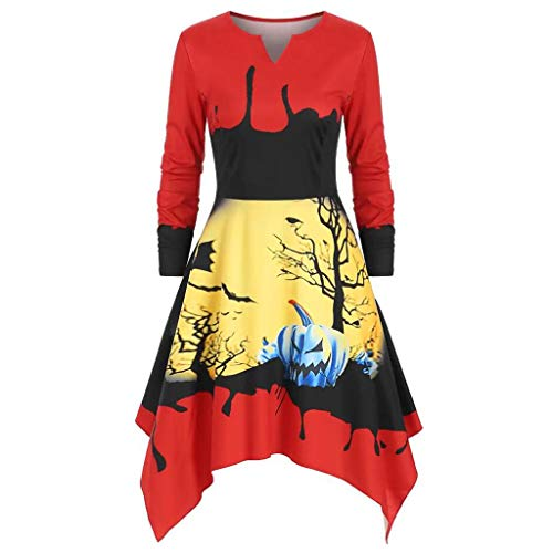 Cocktail Kostüm Oliven - Floweworld Damenmode Minikleider Winter Langarm V-Ausschnitt Halloween-Kostüme Unregelmäßiger Kürbis Bedruckte Freizeitkleider Halloween-Partykleider
