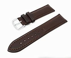 Mens Genuine Italian Leather Watchband Chronograph Style Brown 18mm Watch Band - by JP Leatherworks