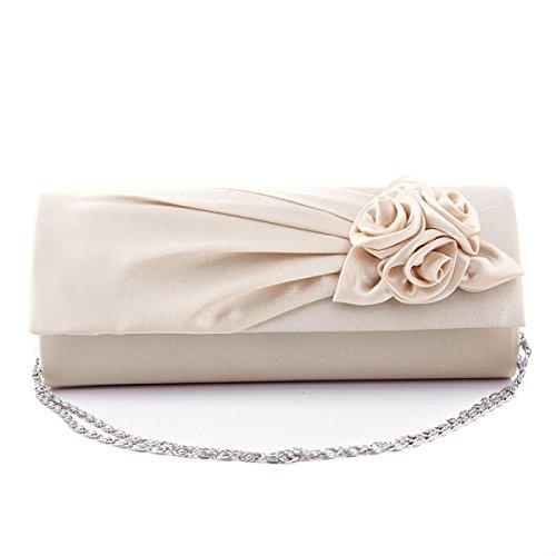 Le Nuove Donne Del Sacchetto Di Rose Fiori Signore Sacchetto Wedding Bag Banchetto Borsa Da Sera PureWhite