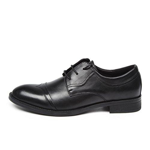 GRRONG Chaussures Pour Hommes Première Couche D'affaires En Dentelle Cuir Costumes Chaussures Pointues Chaussures Affaires Costumes Black