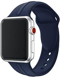 Magiyard Para Apple Watch Series 3 38mm/42mm, Correa de silicona de repuesto Soft Sports Band (42mm, Armada)