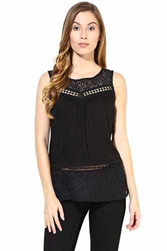 The Vanca Women Top With Lace At Neck And Back In Black Color-Large(TSFN400408-BLACK-L)