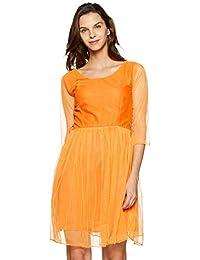 1 Stop Fashion Women's Orange 3/4 Sleeve Net Western Dress