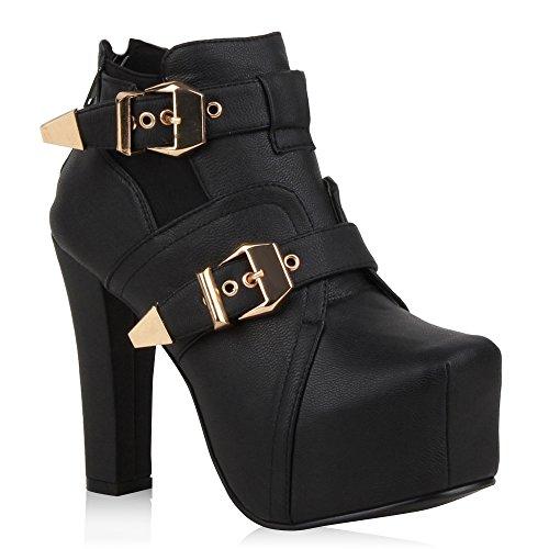 Damen Stiefeletten Plateau Boots Schnallen Schuhe 64569 Schwarz Schnalle 37 Flandell