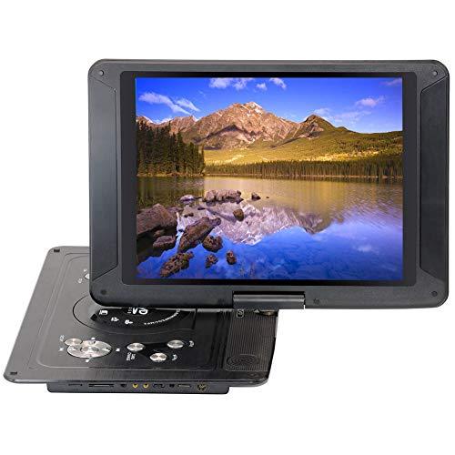 QLPP Tragbarer 14,1-Zoll-DVD-Player mit schwenkbarem Bildschirm, Akku und SD-Kartensteckplatz, USB-Anschluss, Fernbedienung, Autoadapter, Game-Joystick,B (14-zoll-dvd-player)