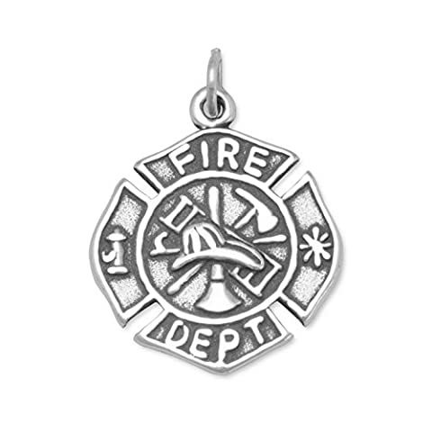 Sterling Silver Firefighter Maltese Cross Charm Measures 19mm In Diameter