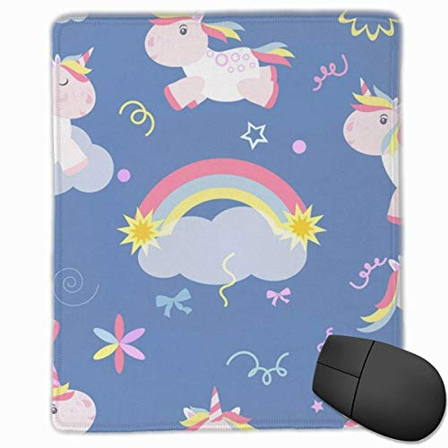 Cute Unicorn Rectangle Non-Slip Rubber Mouse Pad with Stitched Edges