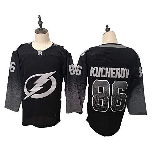 Yajun Nikita Kucherov#86 Tampa Bay Lightning Eishockey Trikots Jersey NHL Herren Sweatshirts Atmungsaktiv T-Shirt Bekleidung,Black,L -