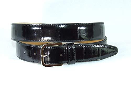 Cintura lucida da uomo in vera pelle di anguilla. vari colori. altezza 3.5 cm. fibbia in nichel lucido. prodotto artigianale fatto a mano.