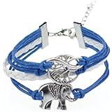 Atdoshop(TM) Life Tree Love Infinity Handmade Knit Black Leather Charms Bracelet Blue