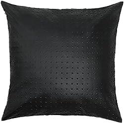 Black Velvet Studio Funda Cojín Snake Polipiel, Color Negro. Suave Piel de Imitación 45x45 cm.