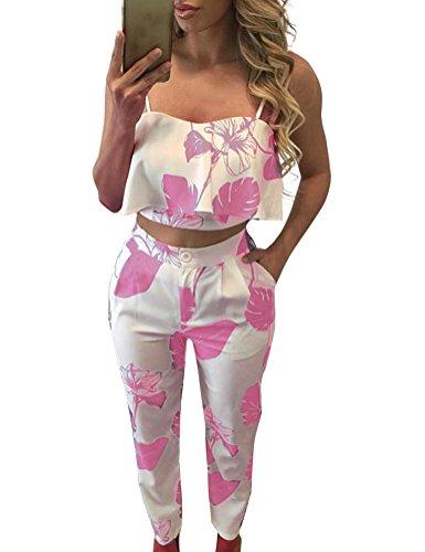 FANCYINN Damen zweiteiler Set Ärmellos Tank Top mit Lange Hose lässig Jumpsuit Playsuit Sommer Rosa XL