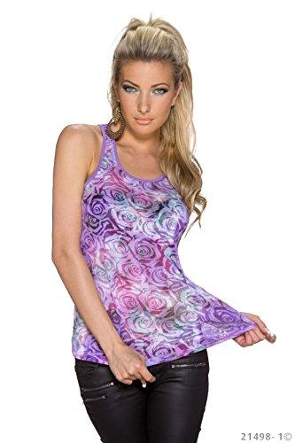 Tank Top mit bunten Rosen Lila Rosa S M L Damen Shirt T-Shirt Lila