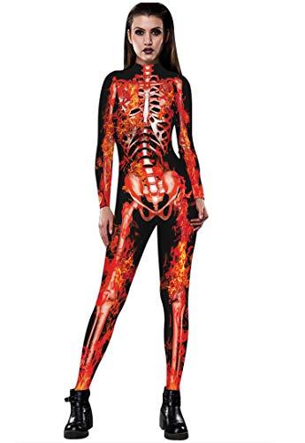 URVIP Skelett Overall Damen Knochen Skeleton Halloween Kostüm Bodysuit Anzug Karneval Fasching BAX-034 XL