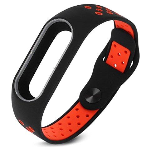 Preisvergleich Produktbild Ersatzband für Xiaomi Miband 2,Kingwo 2017 Neue Mode leichte Lüftung Smart Handgelenk Armband für Xiaomi Mi Band 2 Fitnessarmband (Rot)