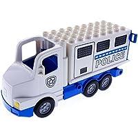 Preisvergleich für 1 x Lego Duplo LKW Truck groß weiß blau mit Aufsatz Police Polizei Wagen Auto 89195c01pb02 87700c04pb01