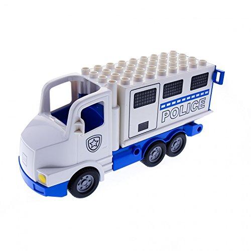 1 x Lego Duplo LKW Truck groß weiß blau mit Aufsatz Police Polizei Wagen Auto 89195c01pb02 87700c04pb01