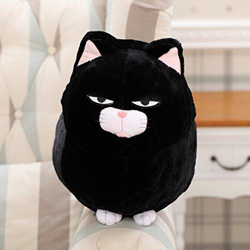 (Zantec Plüschtier Katze Glücksbringer Kreativ Niedlich, Plüsch-Ornament Haus/Wohnzimmer/Schlafzimmer, Geburtstagsgeschenk Halloween Weihnachten 30cm Schwarz)