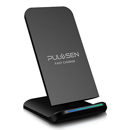 Fast Wireless Charger, PULESEN® Kabelloses Schnellladegerät, Qi Ladegerät Drahtlose Inductive ladestation Charger für Samsung Galaxy S8 S8 Plus S8+ S7 S7 Edge S6 Edge Plus Note 5 und Alle Qi Geräte