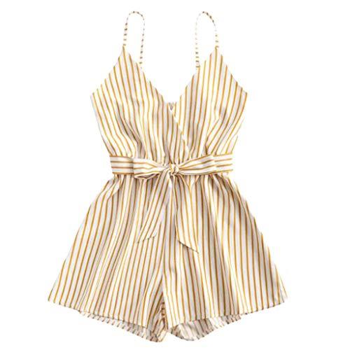 Kaister Jumpsuit Damen Elegant Sommer Striped Sleeveless V-Ausschnitt Kleid Strampler Jumpsuit