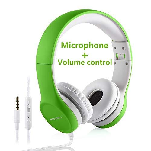Hisonic Kopfhörer für Kinder, Leicht kopfhörer Kinder Kopfhörer mit Laustärkebegrenzung auch Mikrofon Verstellbare Kinder Erwachsene Headset für Jungen und mädchen ab 3 Jahre (Grün) (Für Kinder Headset-mikrofon)