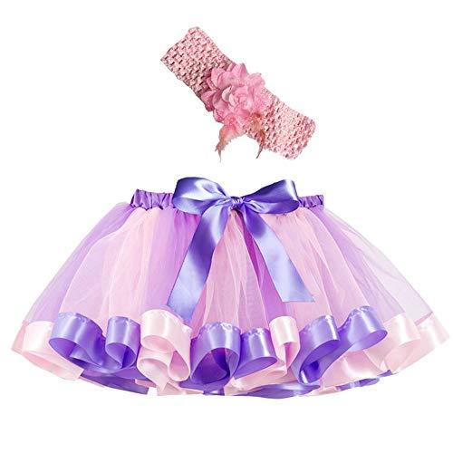 Mädchen Kinder Tutu Rock, zweiteiliges Set Party Tanz Ballett Kleinkind Baby Regenbogen Kostüm Rock + Stirnband Set Karneval Ostern (2Y-11Y)(Lila,L)
