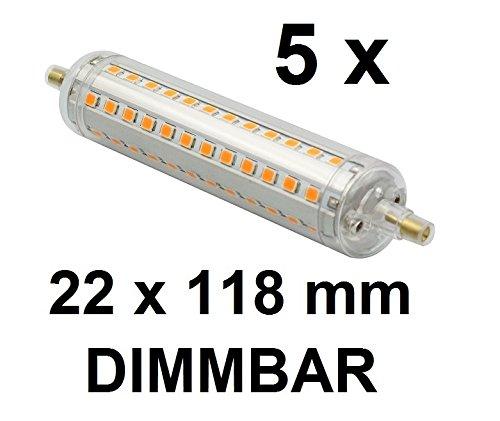 5 x DIMMBARE LED Stab-Lampe R7S - 118 mm Länge, 22 mm Durchmesser - 10 Watt - 1100 Lumen - Warmweiß 2700 Kelvin - 360° Ausstrahlung - entspricht ca. 100 Watt Halogenstablampe. Ideal für Deckenfluter mit Dimmern und Baustrahlern, Arbeitsleuchten mit 118 mm Halogenstablampen