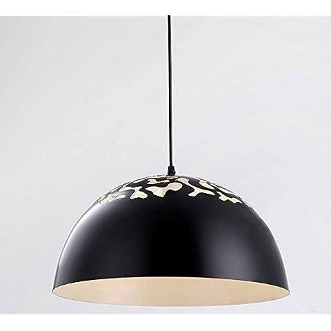 LINA-Europeo-americano contemporaneo soggiorno camera da letto sala da pranzo LED cavità fuori il semicerchio in ferro battuto a sospensione (35 cm) , Black
