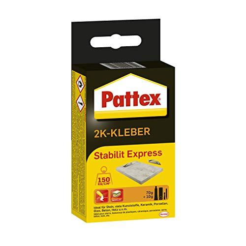 Pattex 2K Kleber Stabilit Express, leistungsstarker und schnell härtender 2 Komponenten Kleber mit bis zu 10 Minuten Verarbeitungszeit, vielseitiger Klebstoff, 1x80g