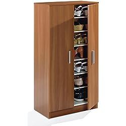 Habitdesign 007813C - Mueble zapatero, acabado color Castaño, dimensiones 108 x 55 x 36 cm de fondo