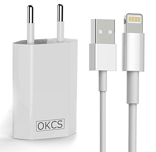 OKCS ORIGINALS - 1A Netzteil + 1M Ladekabel für Apple iPhone 8, 8 Plus, X, 7, 7 Plus, 6, 6 Plus, 5, 5s, 5c, iPod Touch 5 G., iPod Nano 7 G., iPad Mini, iPad 4, iPad Air - in Weiß - 2