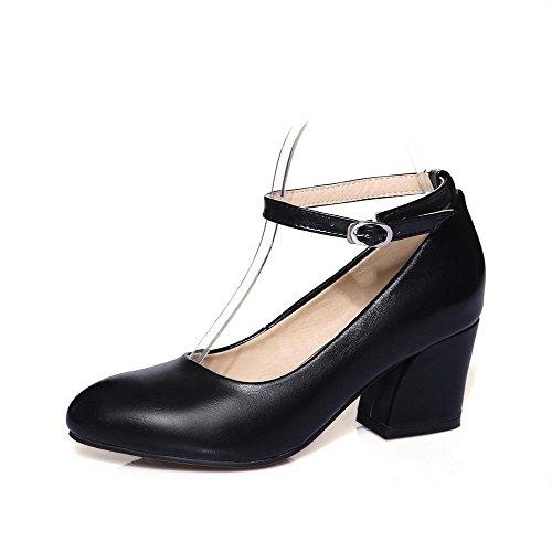 AllhqFashion Femme Matière Souple Pointu à Talon Correct Boucle Couleur Unie Chaussures Légeres Noir