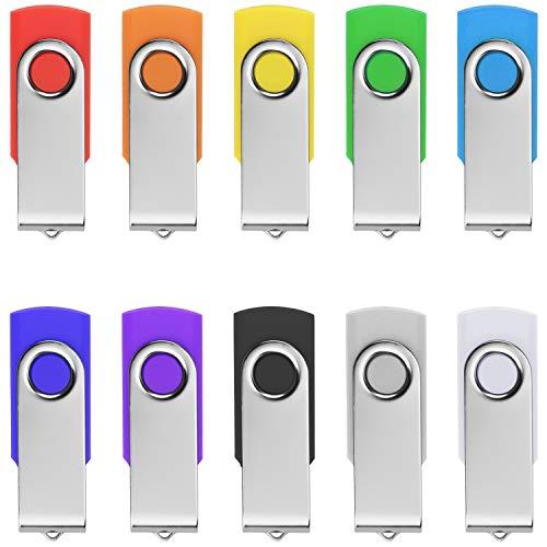 TPSON 10 Stück USB Stick 16 GB Speicherstick 2.0 Flash Drive Pack Datenspeicher Rotate Metall USB-Sticks, Mehrfarbig 10 Stück Usb