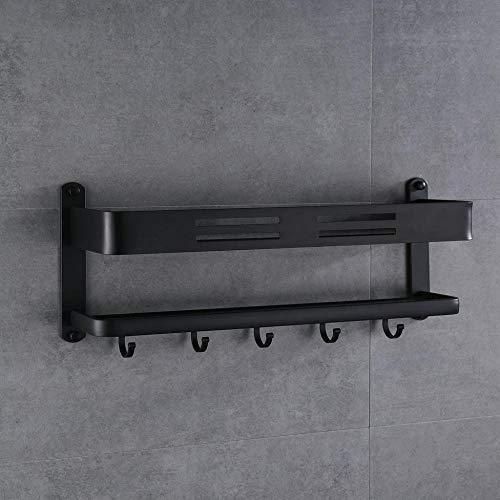 Cremagliere in alluminio a strato singolo cremagliere in alluminio monostrato vassoi in alluminio per bagno appendini da bagno con porta asciugamani a doppia barra, nero strato singolo 60cm