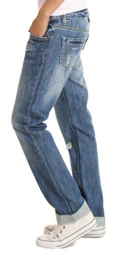 Bestyledberlin Damen Jeans Hosen, Baggyjeans, Damen Boyfriendjeans, Hüftjeans j1z Blau