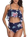 Damen Bikini Set High Waist Ruffles Bademode Zweiteilige Schulterfrei Volant Crop Bademode Tankini Mazarine/Blumen M