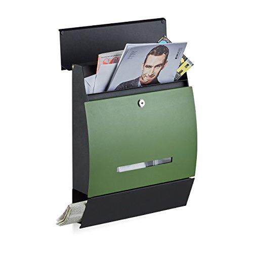 Relaxdays Design Briefkasten mit Zeitungsfach, Pulverbeschichtet, HxBxT: 45 x 35 x 11 cm, Wandbriefkasten, schwarz-grün