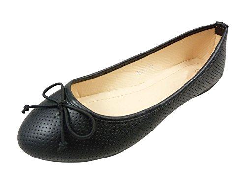 Ballerines Chaussmaro Avec Petit Noeud, Chaussures Plates, Motif Perforé Noir