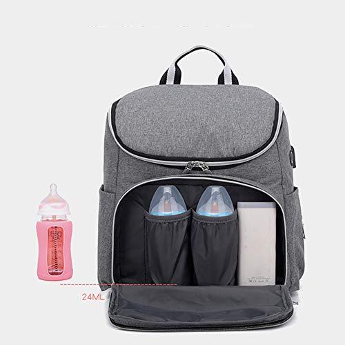 LNDD-Multifunktions Baby Wickelrucksack Wickeltasche Mumienbeutel USB-Lade- Und Kopfhöreranschluss Grosse Kapazität Reisetasche Wasserdicht Stilvoll,Grau