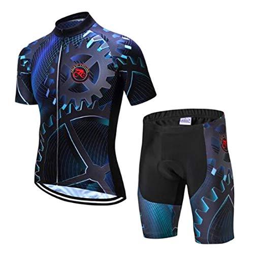 GWELL Herren Radtrikot Atmungsaktive Fahrradbekleidung Set Trikot Kurzarm + Radhose mit Sitzpolster für Radsport Zahnrad (Set mit Shorts) XXL