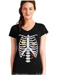 17828f079 Green Turtle T-Shirts Camiseta de Cuello V para Mujer - Estampado Esqueleto  y Dulces