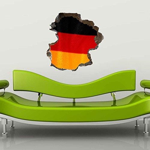Wandtattoo Wandsticker Autoaufkleber Heckscheibe Deutschland Meisterschaft Europameisterschaft EM Flagge (35x36cm) Wandaufkleber Wandsticker Wanddeko Germany EM012