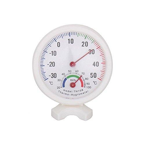 GLOGLOW TH-108 Temperaturfeuchtigkeitsmesser Mini Portable Clock-Förmige 2 in 1 Indoor Outdoor Analog Hygrometer Thermometer Nadel Runde Messuhren Weiß -30~50 ° C H -