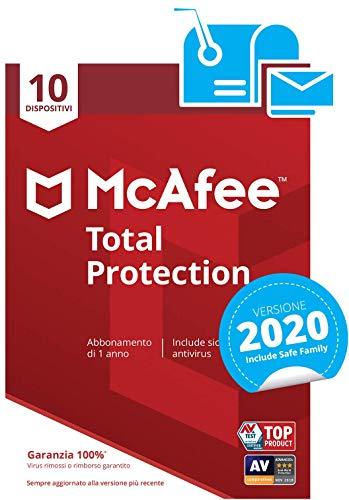 mcafee total protection 2020 | 10 dispositivi | abbonamento di 1 anno | pc/mac/smartphone/tablet | codice di attivazione via mail