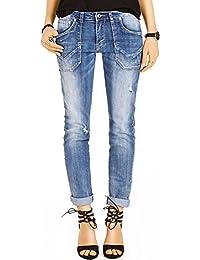 Bestyledberlin Damen Boyfriend Style Jeans, Relaxed Fit Jeanshosen, Used-Look Baggy Hosen j18k