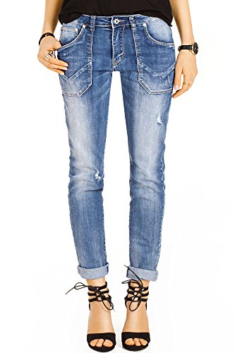 Bestyledberlin Damen Boyfriend Style Jeans, Relaxed Fit Jeanshosen, Used-Look Baggy Hosen j18k 36/S (Relaxed Fit Jeans Damen)