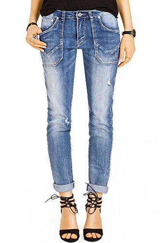 Bestyledberlin Damen Boyfriend Style Jeans, Relaxed Fit Jeanshosen, Used-Look Baggy Hosen j18k 36/S (Damen Relaxed Jeans Fit)
