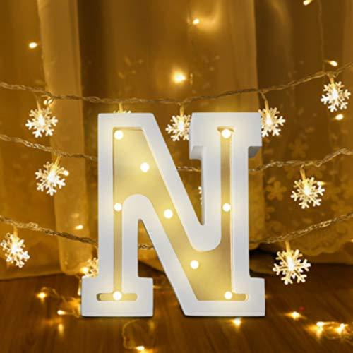FeiliandaJJ A~Z Brief Nachtlicht Batterie Romantisch LED Licht Nachtlampe LED Dekoration für Heiratsantrag Volkstrauertag Schlafzimmer Party Haus Dekor Nachtleuchte (N)